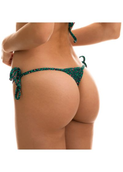 Green side-tie string bikini bottom in leopard print - BOTTOM ANIMAL PRINT PINK BLUE MICRO