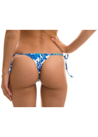 Floral white and blue side-tie string bikini bottom - BOTTOM HORTENSIA MICRO