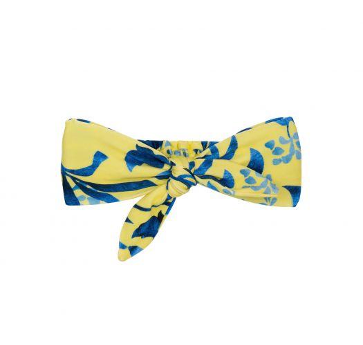 Headband with yellow / blue printed knot - LEMON FLOWER KNOT HEADBAND