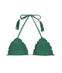 Green ruched triangle bikini top with fringed tassels - SOUTIEN MANDACARU FRUFRU