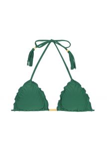 Green ruched triangle bikini top with fringed tassels - SOUTIEN MANDACARU FRUFRU