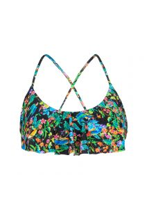 Ruffled bra bikini top in a black floral print - SOUTIEN REALITY FLOWER BABADO