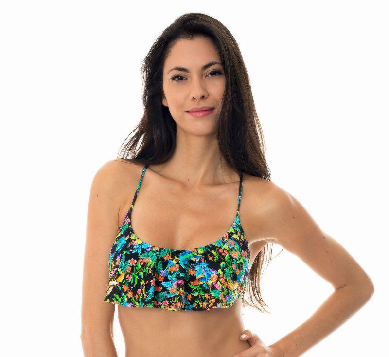 Ruffled bra bikini top in a black floral print - SOUTIEN REALITY FLOWER BABADO