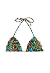 Black ruched floral triangle bikini top - SOUTIEN REALITY FLOWER FRUFRU ORANGE