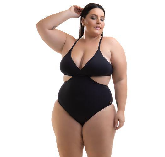 Plus size solid black Brazilian monokini - SWIMSUIT KEMMY PRETO