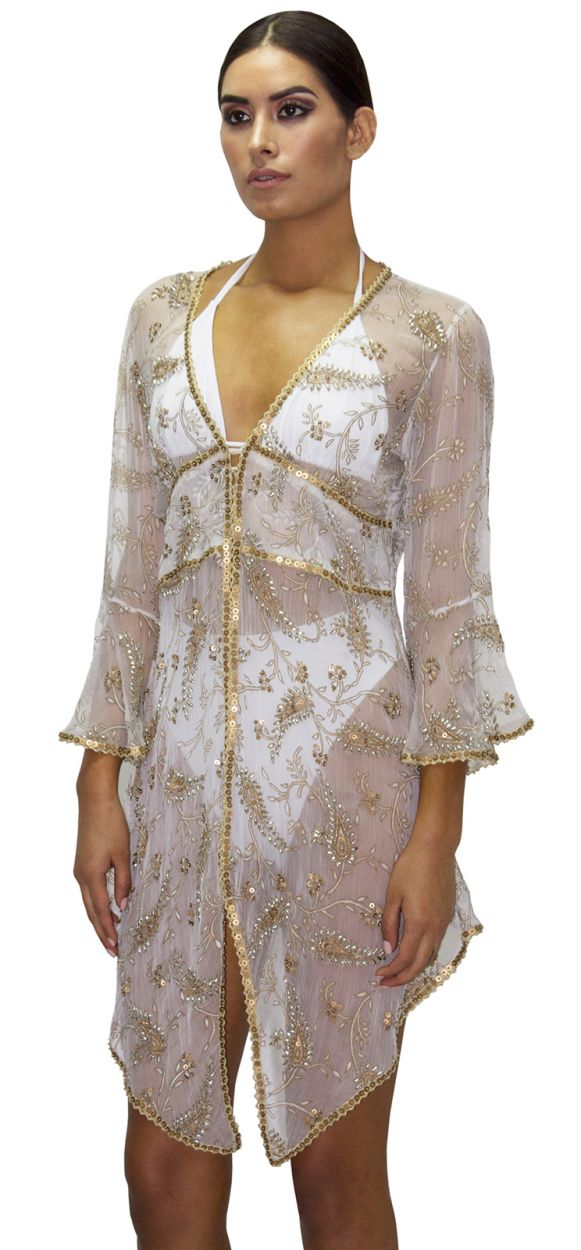 Luxurious embroidered  beach dress with golden sequins and rhinestones - CAPE VIRGEN DEL SOL