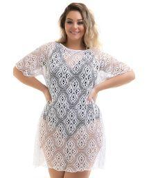 Plus size white lace beach mini dress - DRESS FABY BRANCO