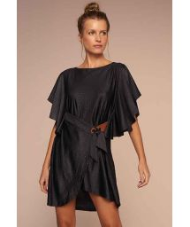 Luxurious black beach dress with crocodile skin effect - VESTIDO ELEGANTE PRETO TEMPEROS