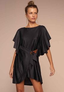 Luxurious black beach dress with crocodile skin effect - VESTIDO ELEGANTE PRETO TEMPEROS