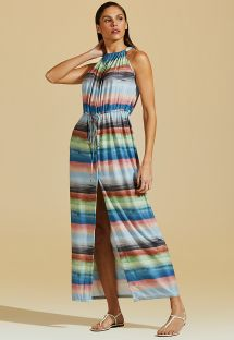 Luxurious long colorful printed beach dress - VESTIDO IMPRESSIONISMO