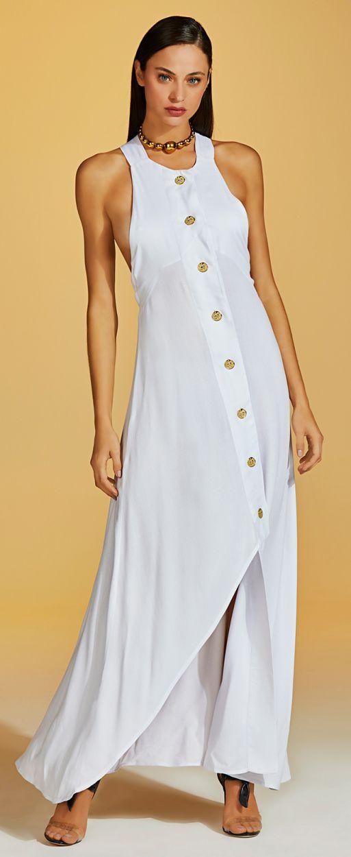 Luxurious white long buttoned beach dress - VESTIDO NUANCE BRANCO