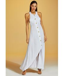 Luxurious white long buttoned beach dress - VESTIDO NUANCE BRANCO