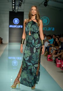 Vestido de playa largo de lujo blanco y verde - LONG DRESS AFRICA