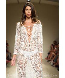 Long white lace beach dress, deep V neckline - SAHARA LONGA