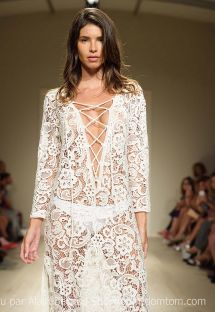 Long white lace beach dress, deep V neckline - SAHARA LONGA