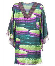 Printed beach dress with kimono sleeves - VITORIA REGIA