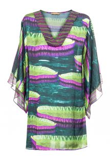 Printed beach dress with kimono sleeves - VITORIA REGIA