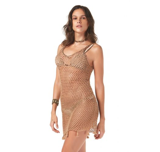 Beige crochet beach dress with tassels - SAIDA CROCHET TELA