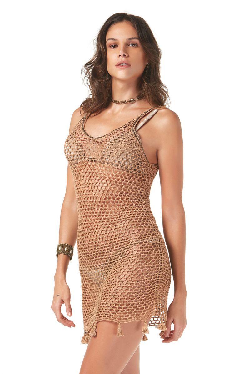 Beige crochet beach dress with tassels - SAIDA CROCHET TELA