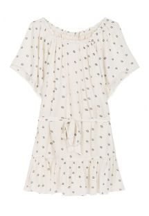 Off-white short beach dress with bare shoulders - BOHEME