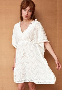 White feather embroidered kaftan with pom-poms - CAFTAN REVA