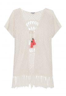Białe kimono szydełkowe, rozeta na plecach - CAPRI KIMONO