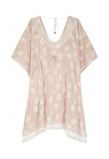 Embroidered nude kaftan with off-white flowers - MALLORCA