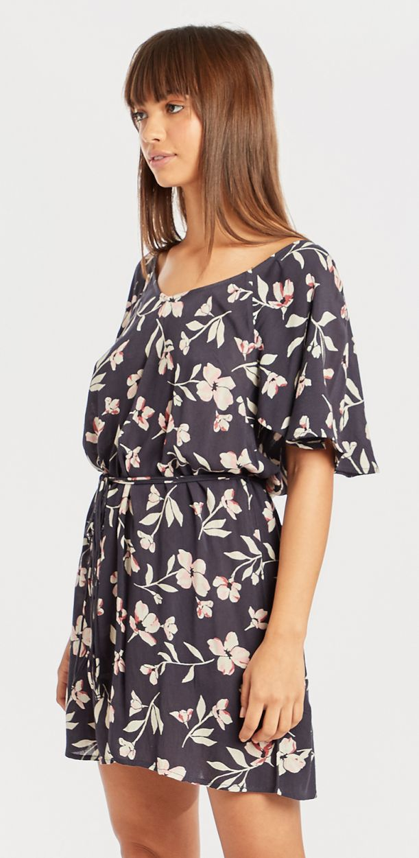 Floral print beach dress with link waist - FINE FLUTTER INK