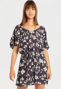 Floral print beach dress with link waist - FINE FLUTTER INK