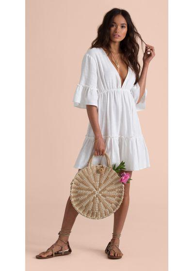 White beach dress with deep neckline - LOVERS WISH COOL WIP