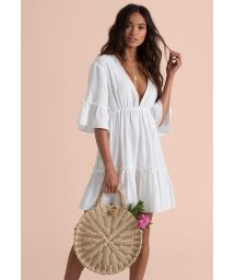 Robe de plage blanche décolleté profond - LOVERS WISH COOL WIP