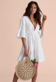 深いネックラインの白いビーチドレス - LOVERS WISH COOL WIP