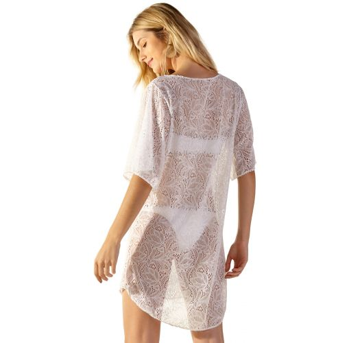 3/4 sleeve white lace beach dress - LURI BRANCO
