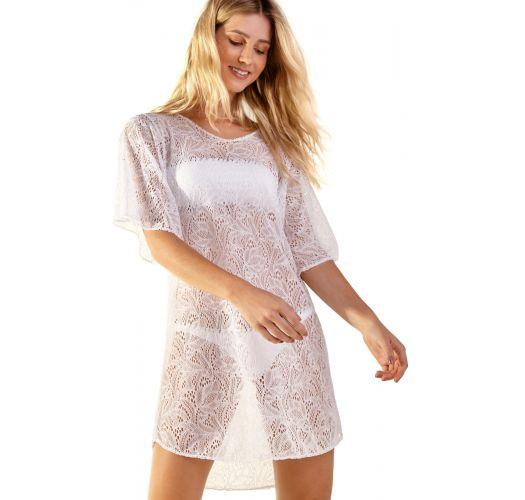 3/4 sleeve white lace beach dress - LURI BRANCO