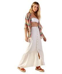 Geometric print beach kimono with textured effect - AGNES CURTA POLINESIA