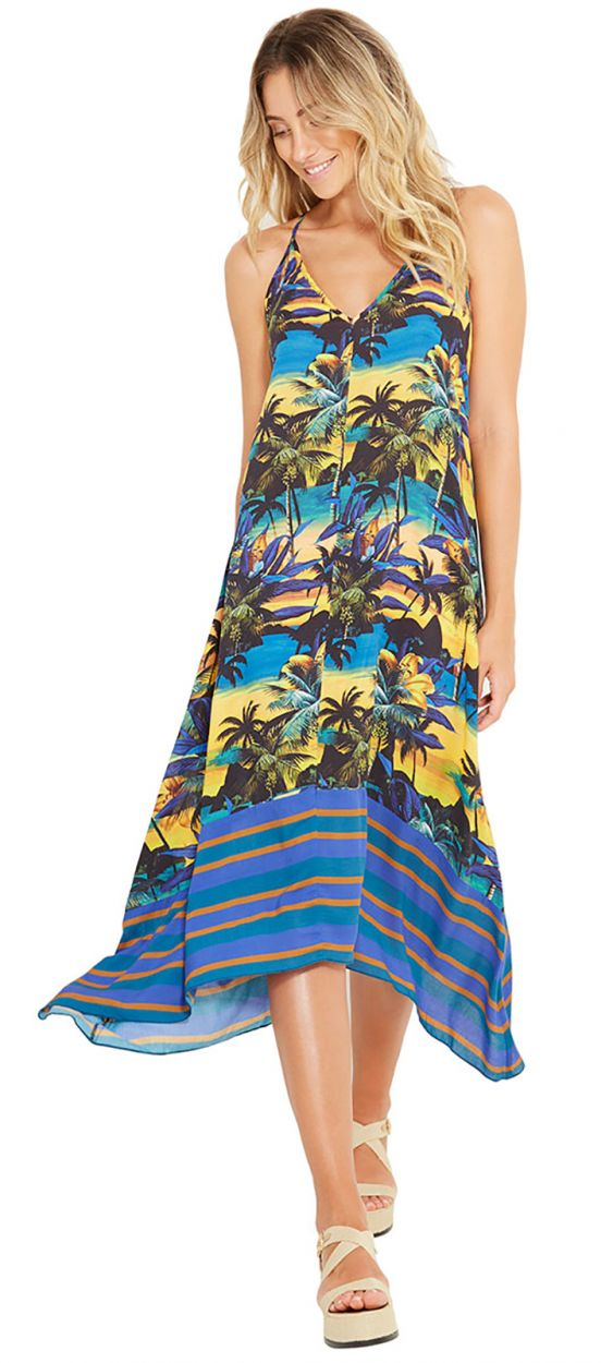 Пляжное платье в тропический принт с заходом солнца - BALI ENTARDECER
