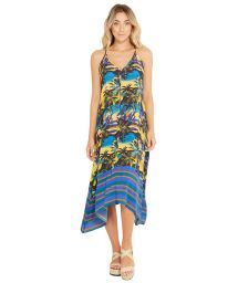 Beach dress in tropical sunset print - BALI ENTARDECER