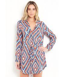 Robe chemise de plage imprimé graphique - CHEMISE BELA FLOR