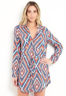 Multi-color long sleeved beach shirt - CHEMISE BELA FLOR