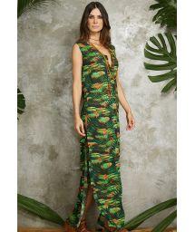 Long tropical print shirt dress with side slit - CHEMISE LONGA VERAO