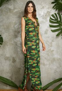 Long tropical print shirt dress with side slit - CHEMISE LONGA VERAO