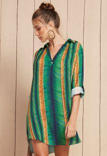 Пляжное платье-рубашка зеленого цвета с узором из полос - CHEMISE MALI