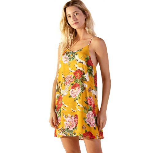 Yellow floral beach dress with slim straps - COQUETEL XANGAI