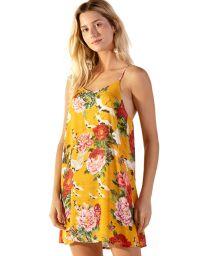 Robe de plage jaune à fleurs bretelles fines - COQUETEL XANGAI