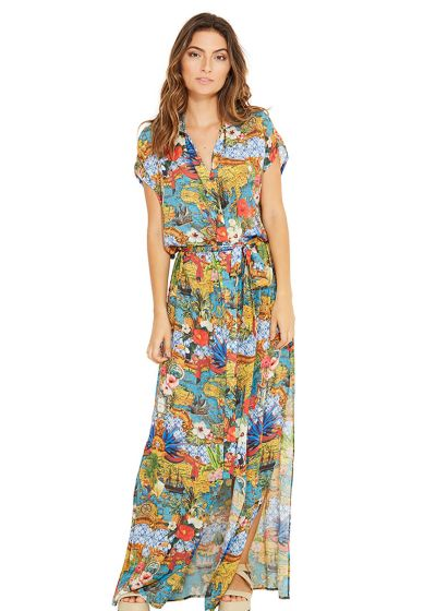 Long colorful waist-tied beach dress - IVY HEMISFERIO