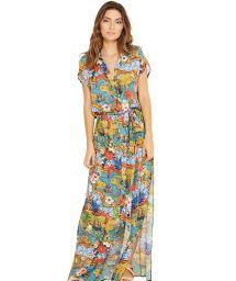 Lång färgglad strandklänning med midjeband - IVY HEMISFERIO