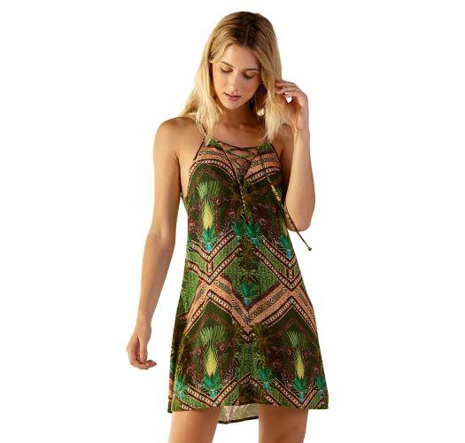 Green ethnic short laced beach dress - JESS JAVA
