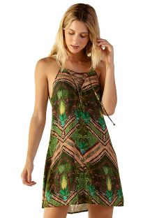 Green ethnic short laced beach dress - JESS JAVA