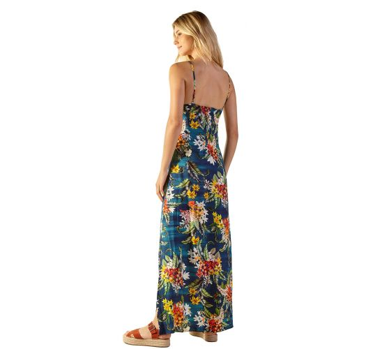 Long floral blue beach dress with straps - MOANA ARTA