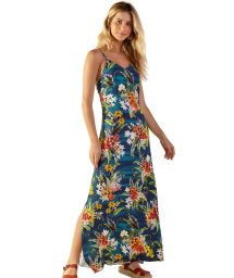 Longue robe de plage bleu fleuri à bretelles - MOANA ARTA